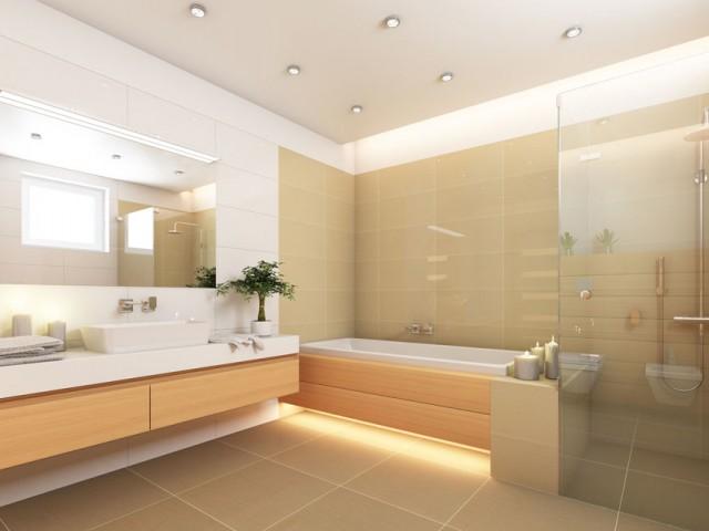 helles, modernes Bad mit ebenerdiger Dusche